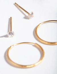 Gold Plated Sterling Silver Stud Hoop Earring Pack - link has visual effect only