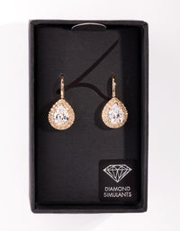 Diamond Simulant Gold Pear Crystal Earrings - link has visual effect only
