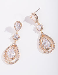 Gold Diamond Simulant Multi Drop Earring - link has visual effect only