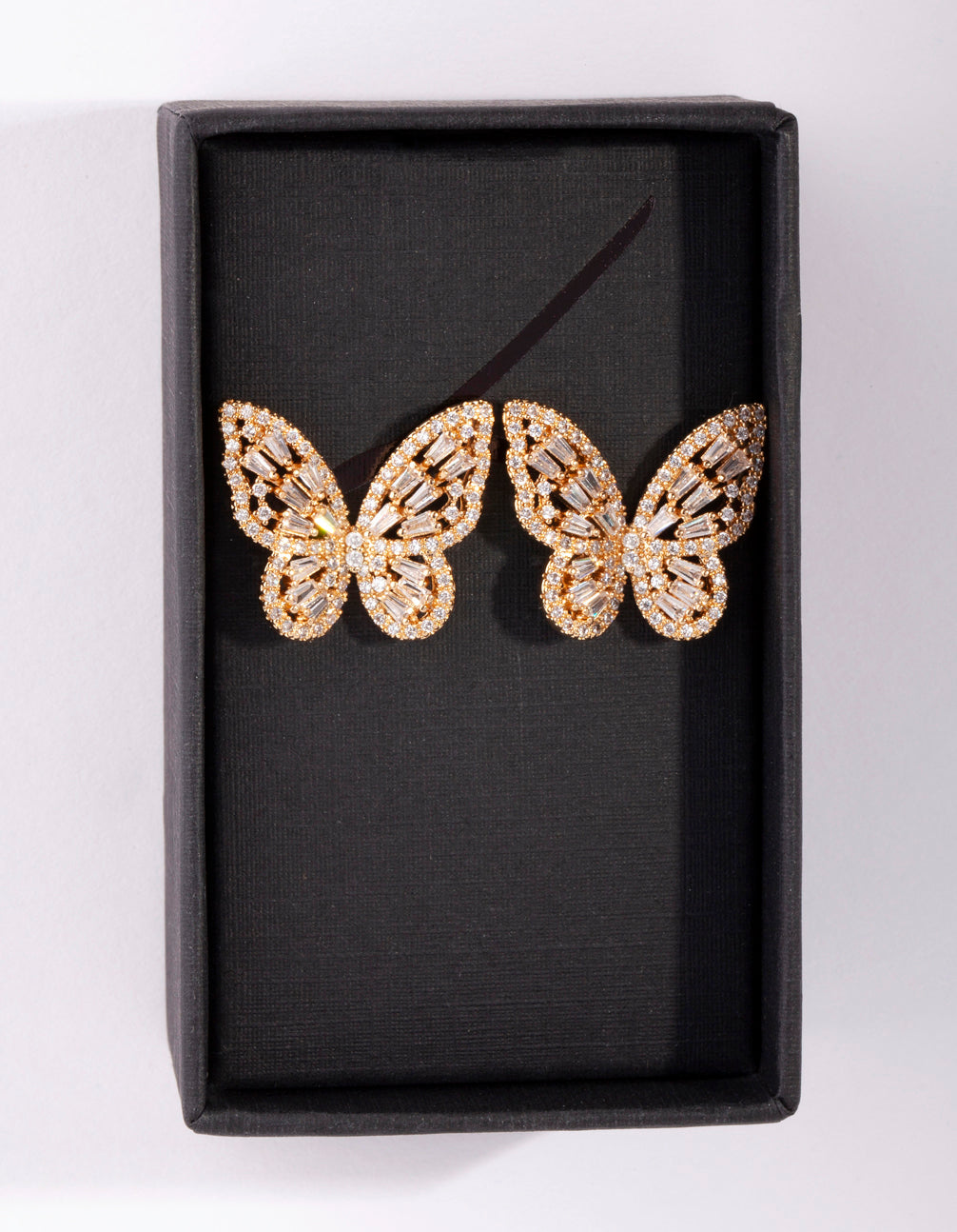 Gold Diamond Simulant Butterfly Stud Earring