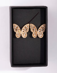 Gold Diamond Simulant Butterfly Stud Earring - link has visual effect only