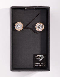 Diamond Simulant Gold Rounded Stud Earring - link has visual effect only
