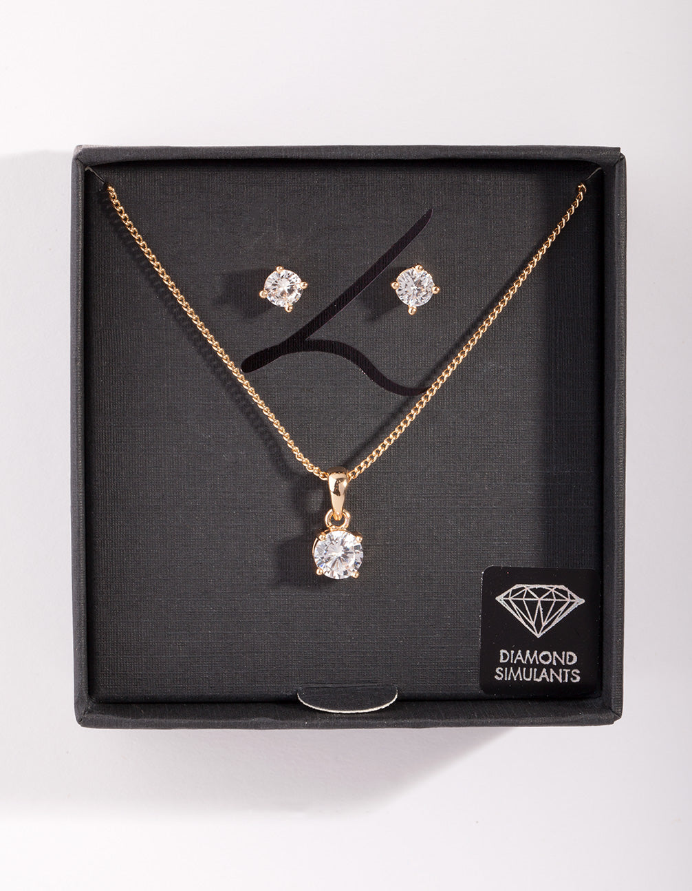 Diamond Simulant Gold Stone Earring Necklace Set
