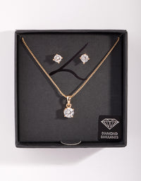 Diamond Simulant Gold Stone Earring Necklace Set - link has visual effect only