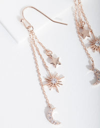 Rose Gold Star Moon Drop Earring - link has visual effect only