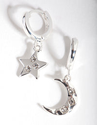 Silver Star Moon Huggie Earring - link has visual effect only