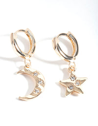 Gold Star Moon Huggie Earring - link has visual effect only