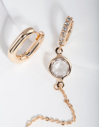 Gold Mismatch Stone and Chain Earrings - link has visual effect only