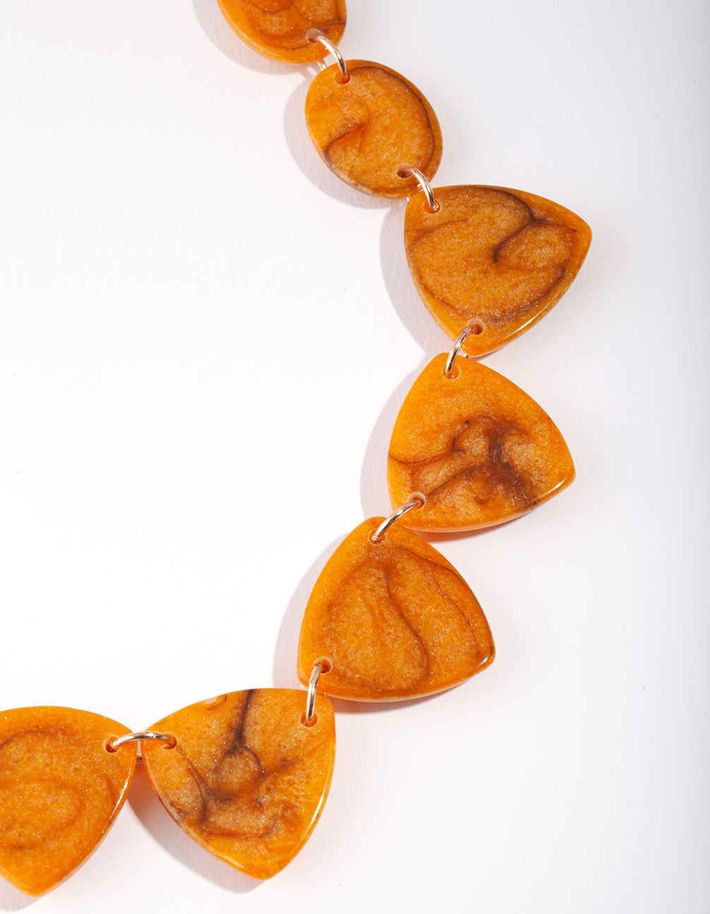 Gold Orange Triangle Resin Collar Necklace