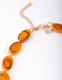 Gold Orange Triangle Resin Collar Necklace - link has visual effect only