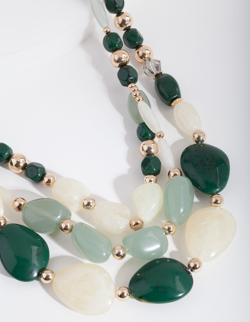 Green Marble Layered Bead Necklace