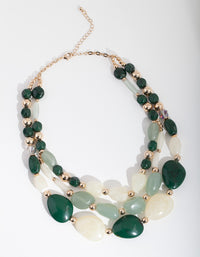 Green Marble Layered Bead Necklace - link has visual effect only