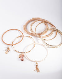 Gold Brown Tassel Bangle Pack - link has visual effect only