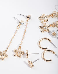 Gold Daisy White Earring 6 Pack - link has visual effect only