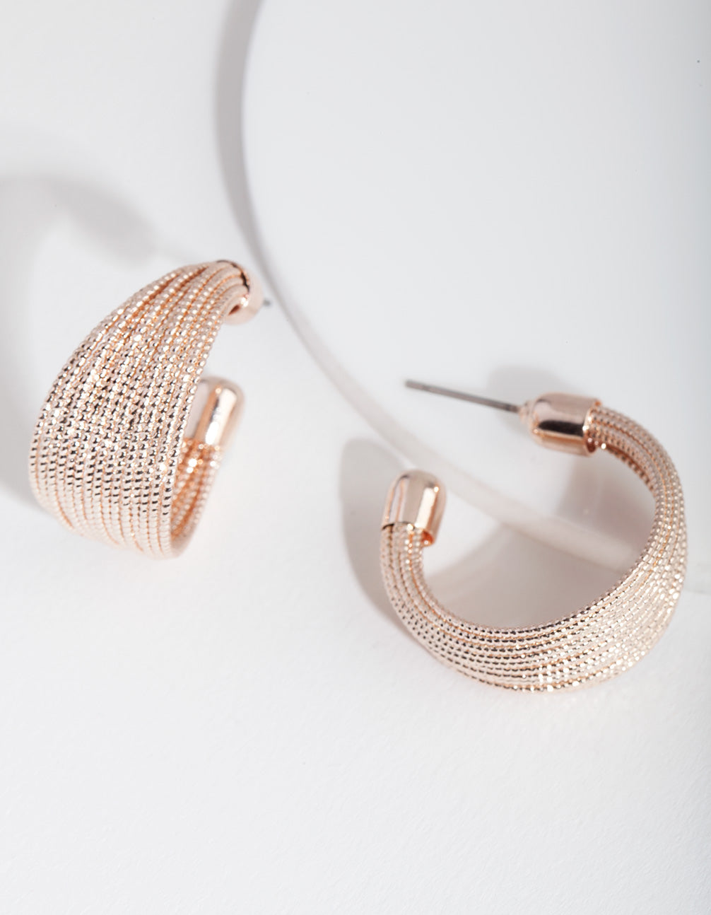 Rose Gold Textured C Hoop Earring
