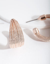 Rose Gold Textured C Hoop Earring - link has visual effect only