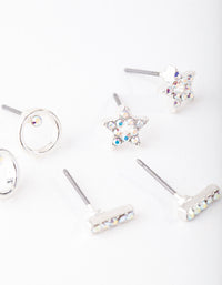 Swarovski Silver Star Stud Earring 3 Pack - link has visual effect only