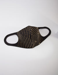 Black and Gold Studded Cloth Face Mask - link has visual effect only