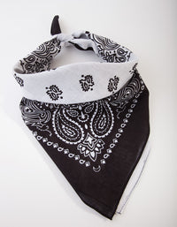 Black and White Paisley Cotton Bandana - link has visual effect only