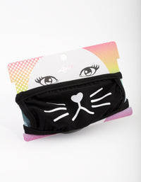 Kids Black & White Whiskers Face Mask - link has visual effect only