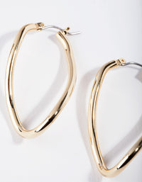 Real Gold Plated Organic Hoop Earring - link has visual effect only