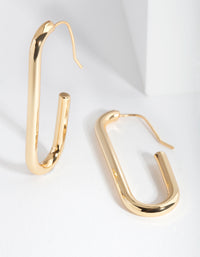 Real Gold Plated Rectangle Hoop Earrings - link has visual effect only