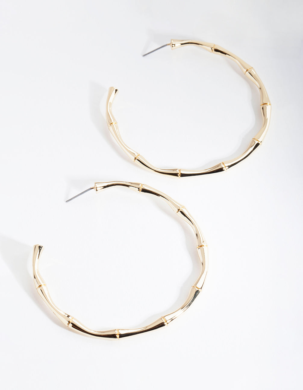 Real Gold Plated Large Bamboo Hoop Earrings