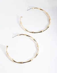 Real Gold Plated Large Bamboo Hoop Earrings - link has visual effect only