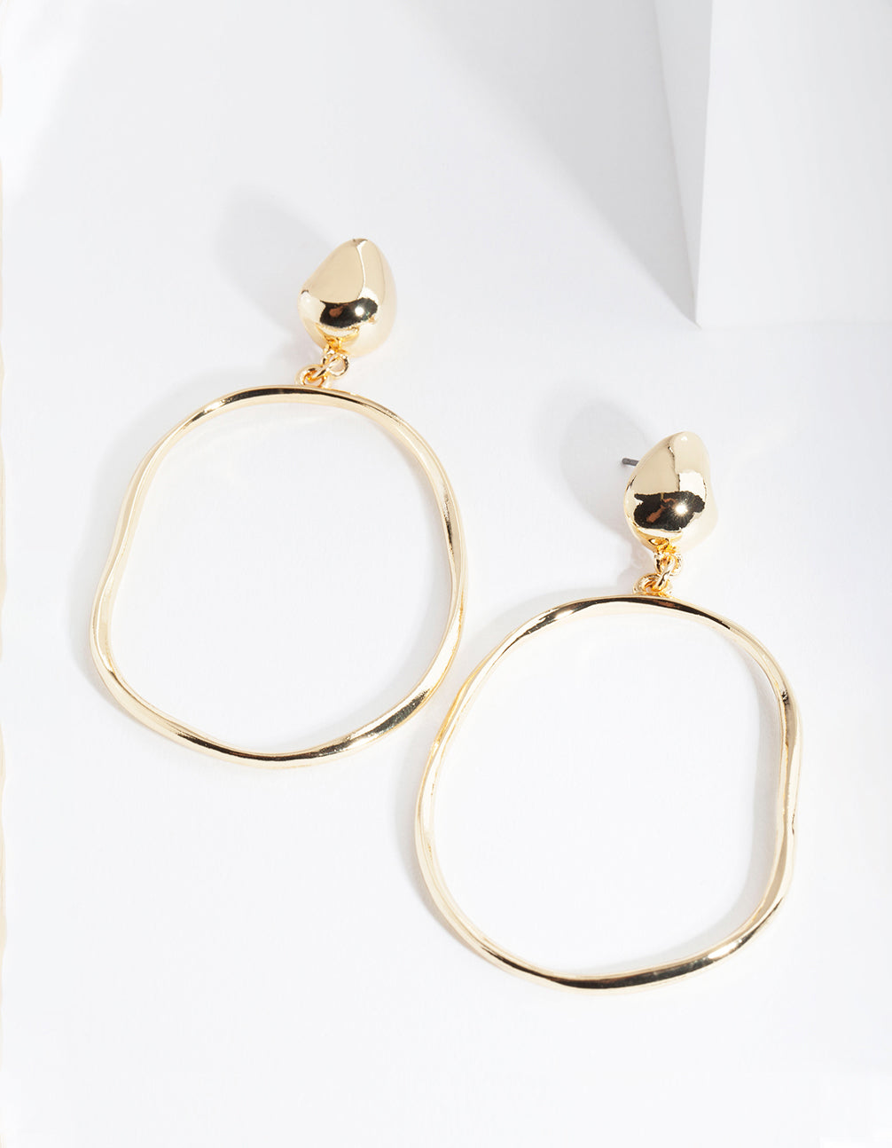 Real Gold Plated Door Knocker Circle Earrings