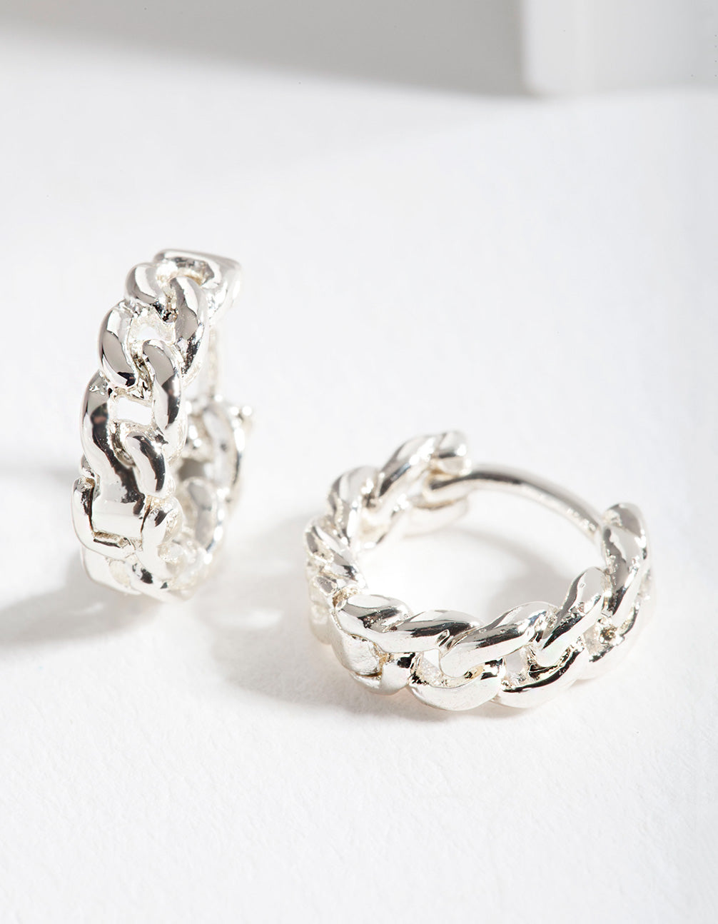 Silver Mini Chain Huggie Earring
