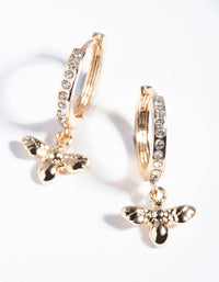 Gold Diamante Bee Charm Huggie Earrings - link has visual effect only