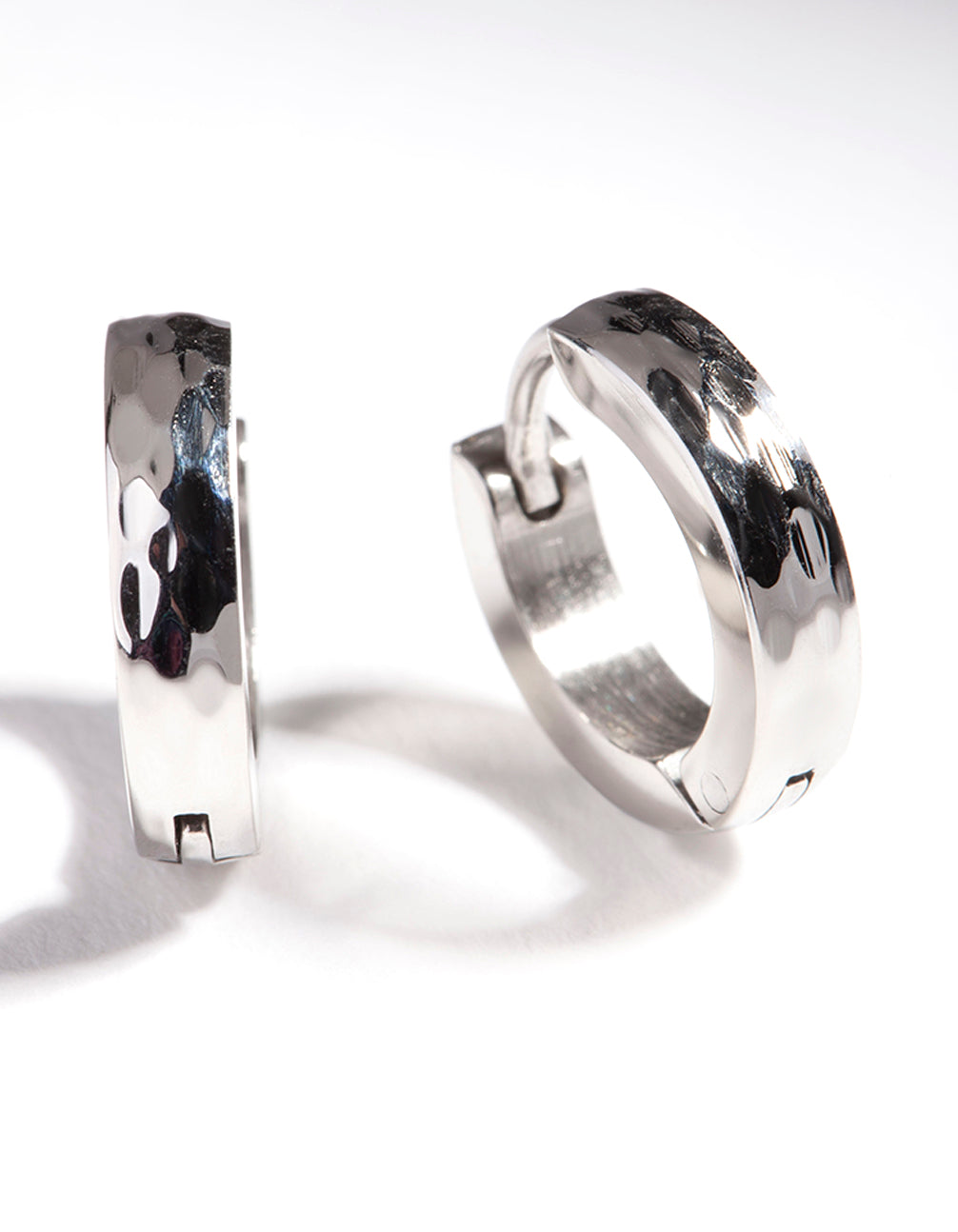 Rhodium Surgical Steel Textured Huggie Earrings