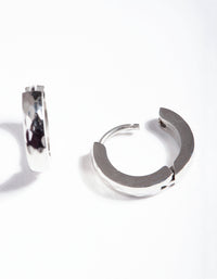 Rhodium Surgical Steel Textured Huggie Earrings - link has visual effect only