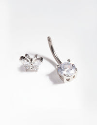 Titanium Cubic Zirconia Butterfly Belly Bar - link has visual effect only