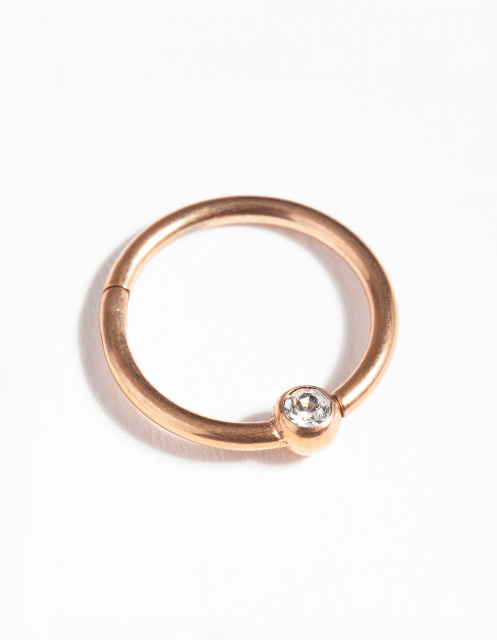 Rose Gold Surgical Steel Diamante Hinged Ring