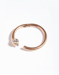 Rose Gold Surgical Steel Diamante Hinged Ring - link has visual effect only