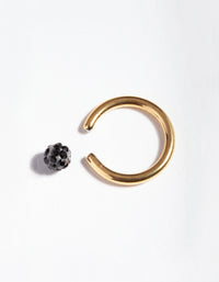 Gold Surgical Steel Black Diamante Belly Ring - link has visual effect only