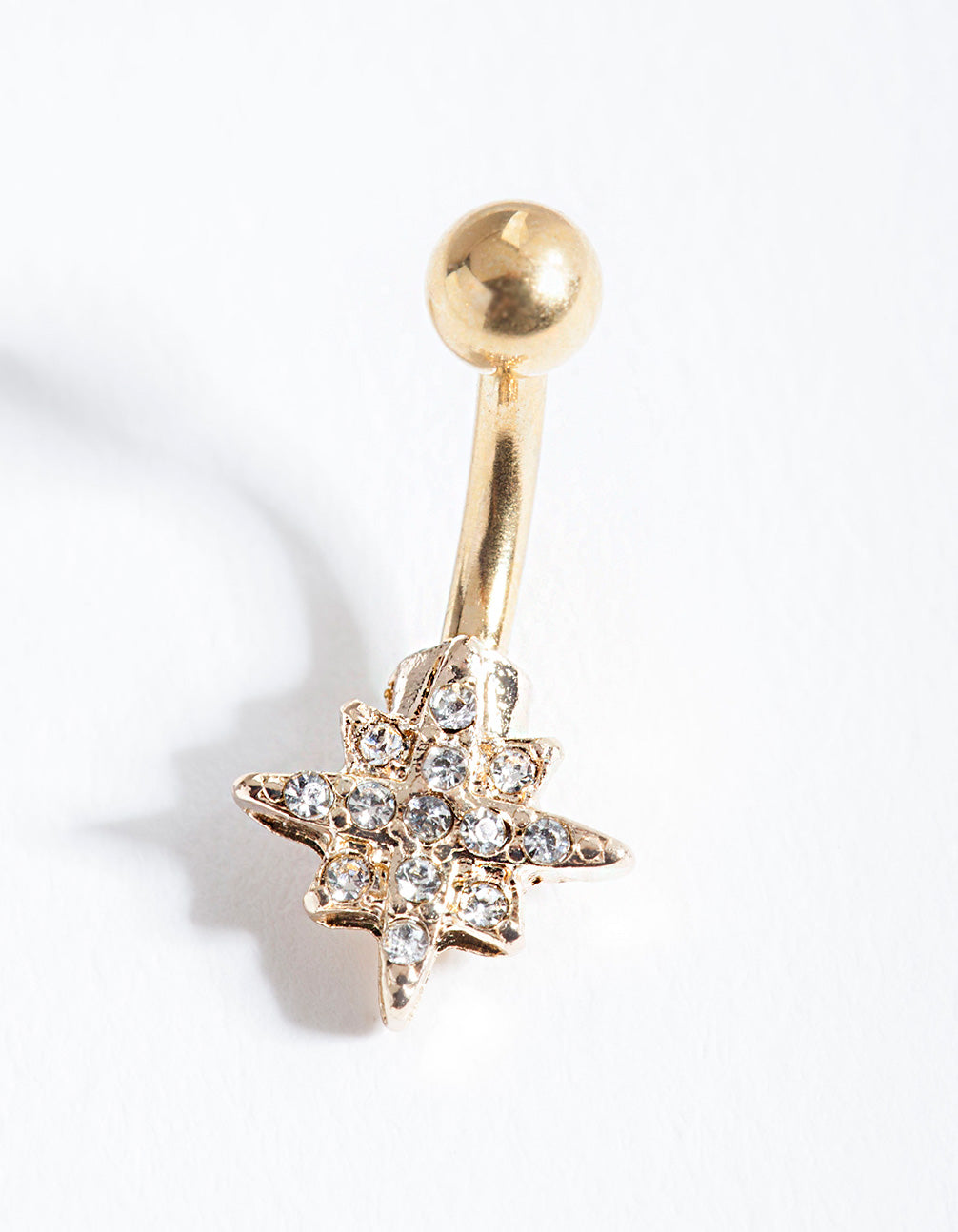 Gold Starburst Surgical Steel Belly Bar