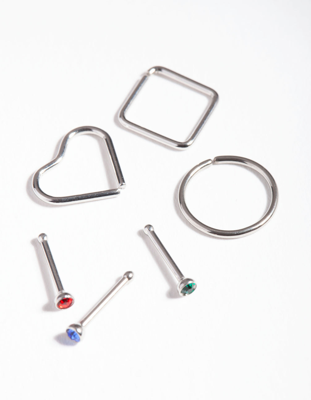 Rhodium Surgical Steel Diamante Geometric Nose Pack