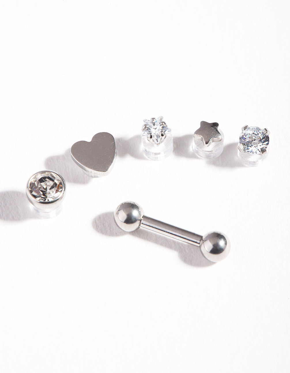 Rhodium Surgical Steel Cubic Zirconia Heart Barbell Pack