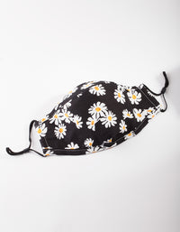 PRE ORDER: Black and White Daisy Print Face Mask - Estimated Despatch 31/08/2020 - link has visual effect only