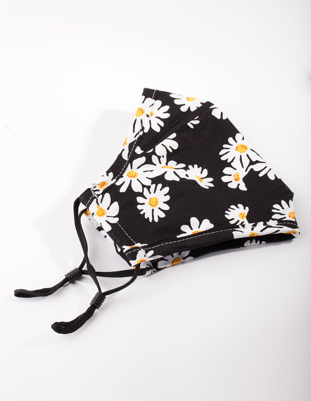 Black and White Daisy Print Face Mask