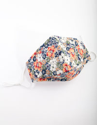 PRE ORDER: Orange and Blue Floral Face Mask- Estimated Despatch 17/08/2020 - link has visual effect only