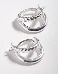 Sterling Silver Twist Plain Double Hoop Earring - link has visual effect only