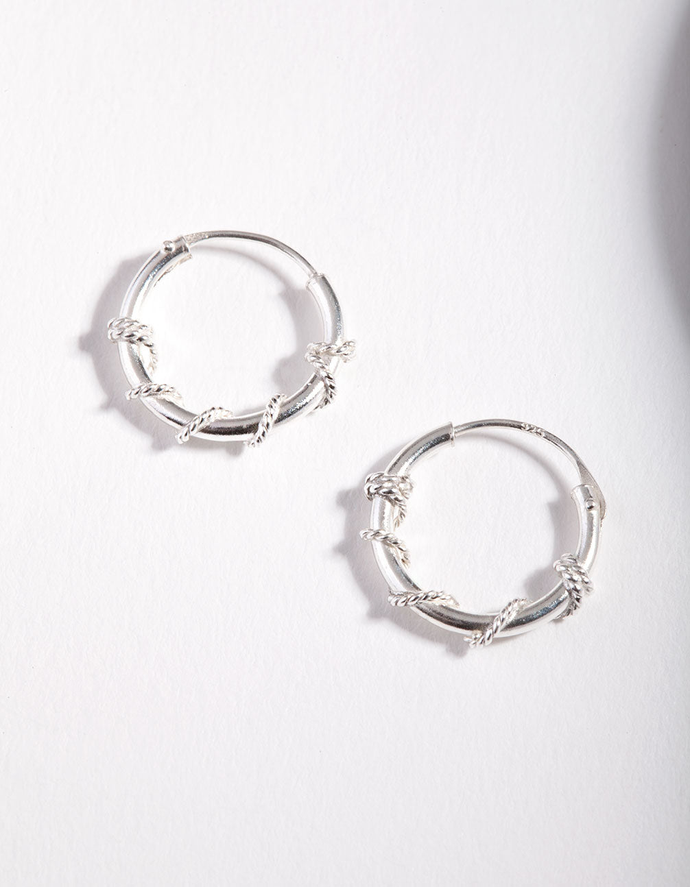 Sterling Silver Rope Twist Hoop Earrings