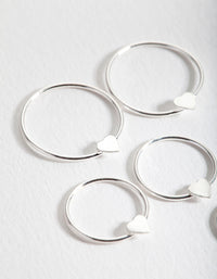 Sterling Silver Heart Hoop Earring 3 Pack - link has visual effect only