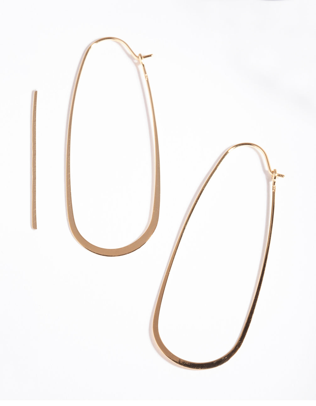 Gold Plated Sterling Silver Long Oval Drop Earrings