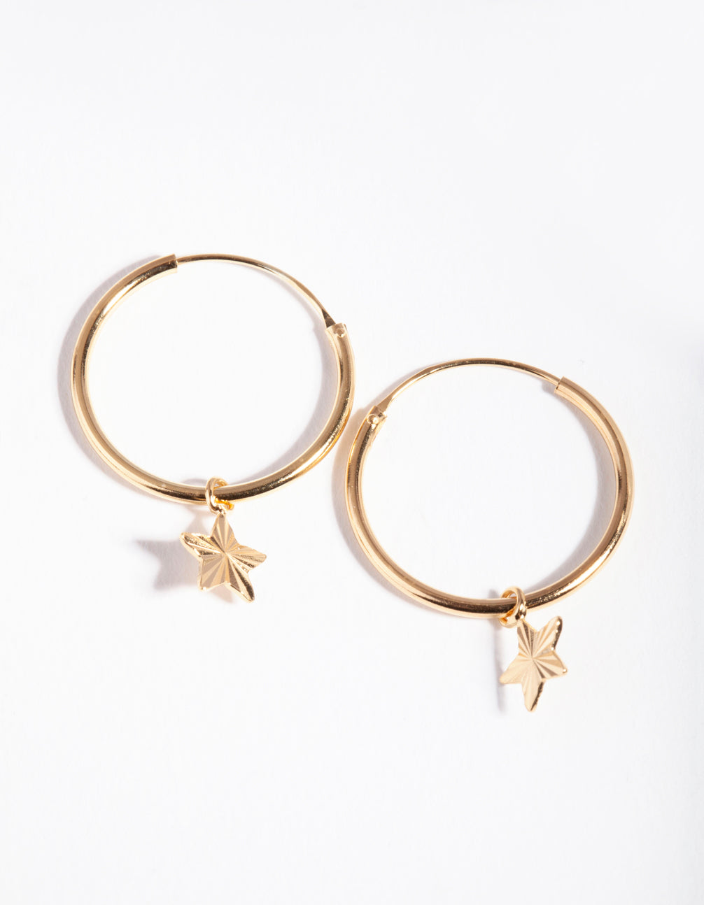 Gold Plated Sterling Silver Star Charm Hoop Earrings