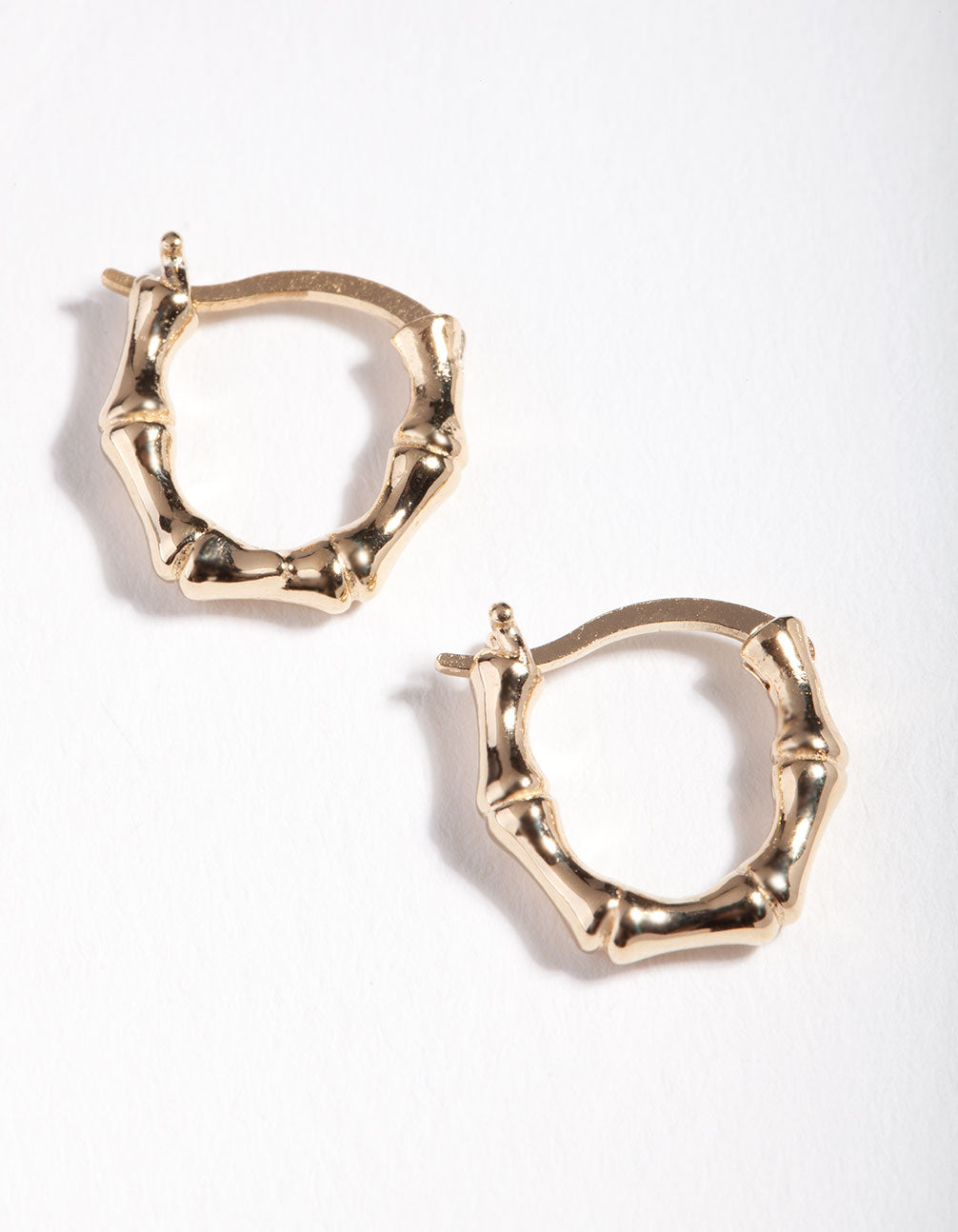 Gold Plated Sterling Silver Mini Bamboo Hoop Earrings