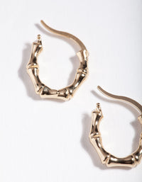 Gold Plated Sterling Silver Mini Bamboo Hoop Earrings - link has visual effect only